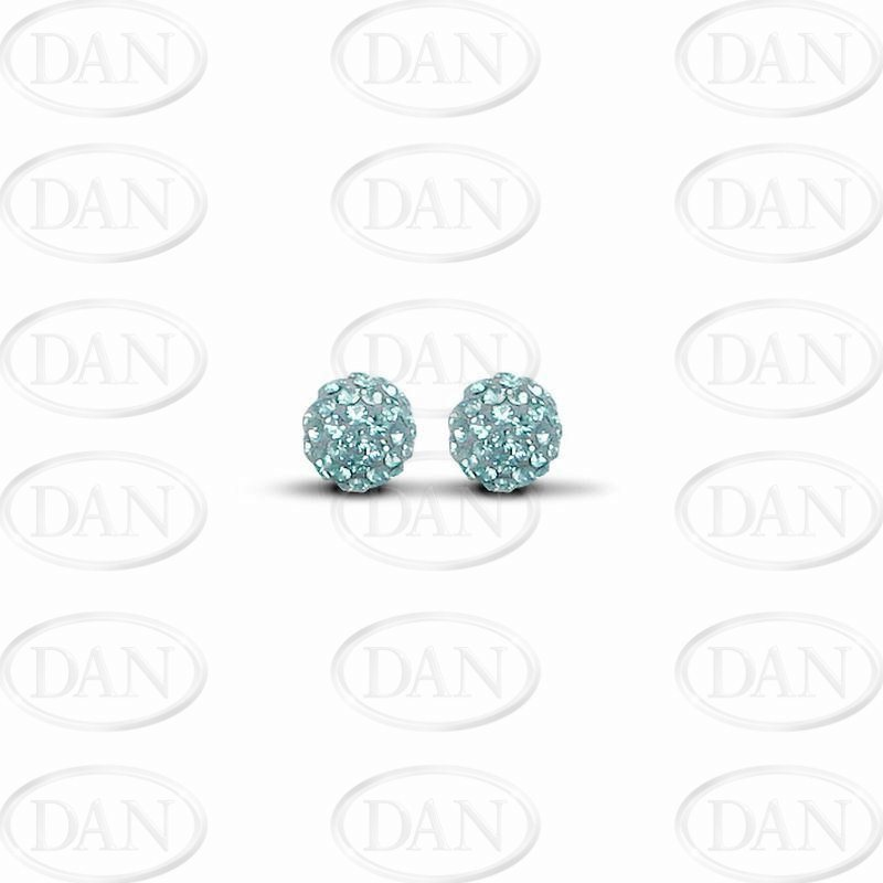 8mm Baby Blue Crystal Silver Studs