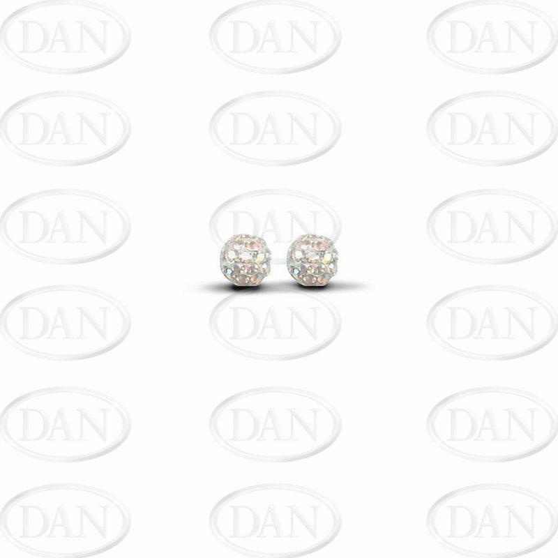 Sterling Silver 6mm Aurora Borealis Crystal Stud Earrings
