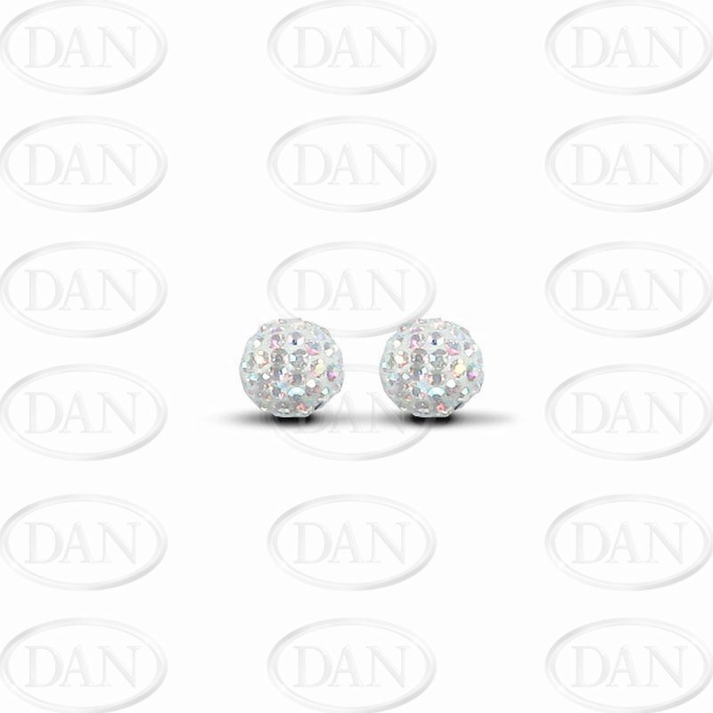 8mm Ab Crystal Studs Silver