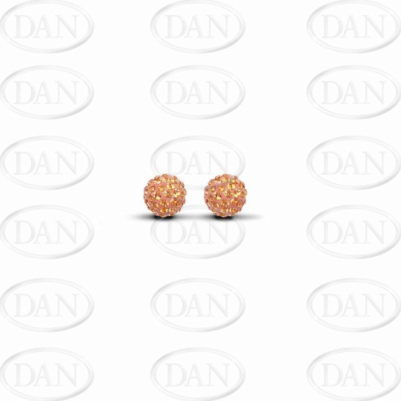 6mm Orange Crystal Ball Studs