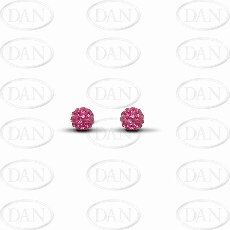 6mm Fuschia Crystal Ball Studs