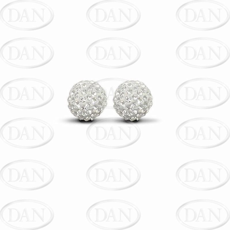 10mm White Silver Crystal Studs