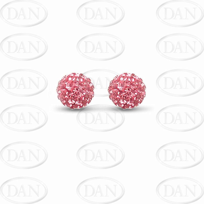 10mm Pink Crystal Silver Studs