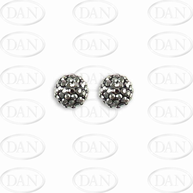 10mm Charcoal Crystal Silver Studs