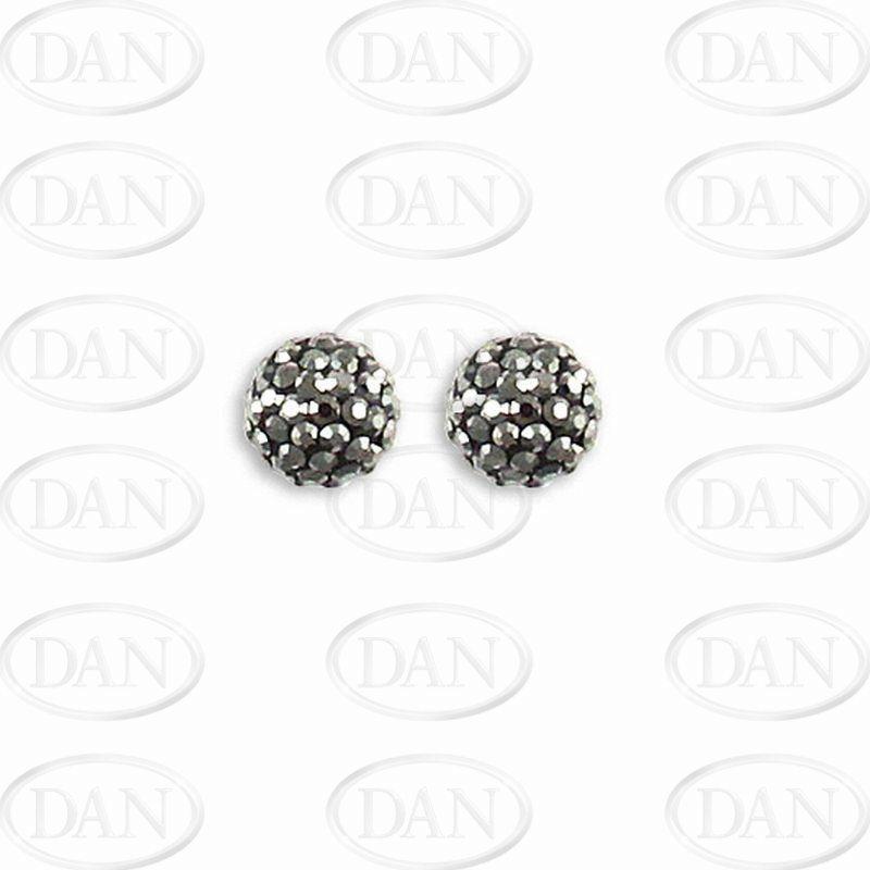 Sterling Silver 10mm Charcoal Crystal Stud Earrings