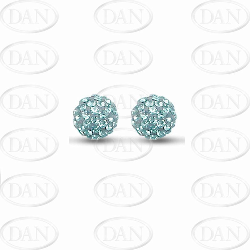 Sterling Silver 10mm Light Blue Crystal Stud Earrings
