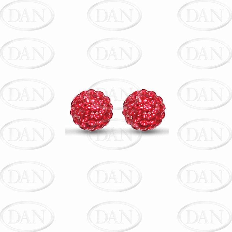 Sterling Silver 10mm Red Crystal Stud Earrings