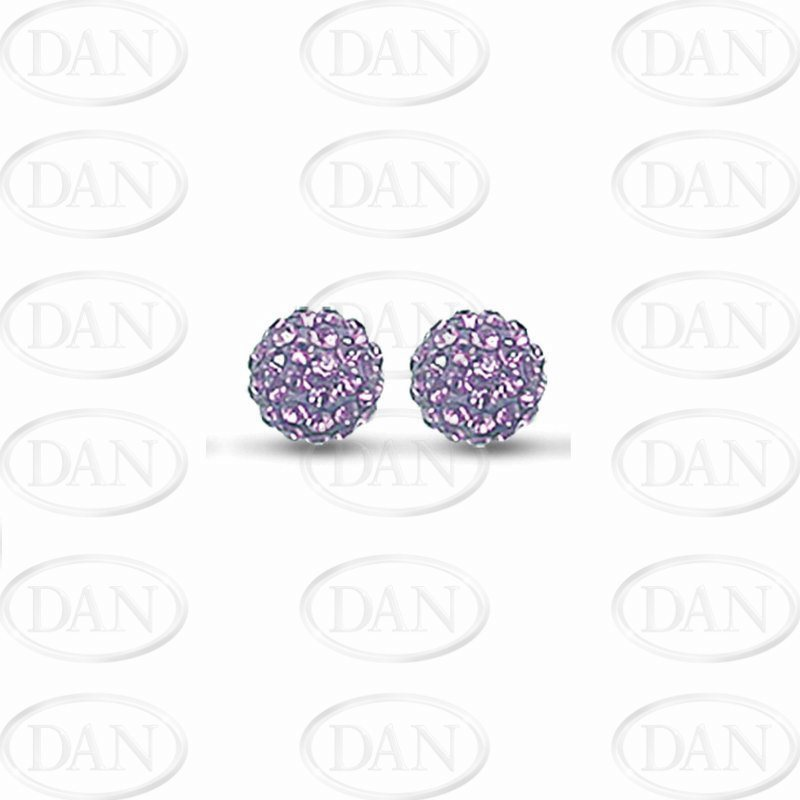 Sterling Silver 10mm Lilac Crystal Stud Earrings