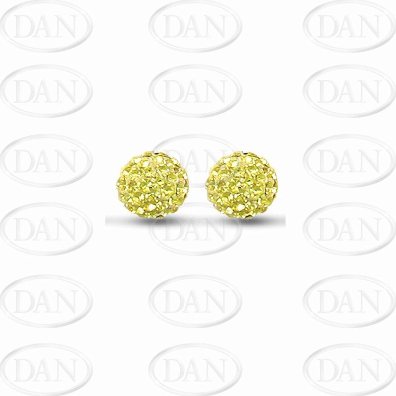 10mm Yellow Crystal Silver Studs