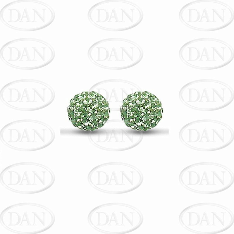 10mm Green Crystal Silver Studs