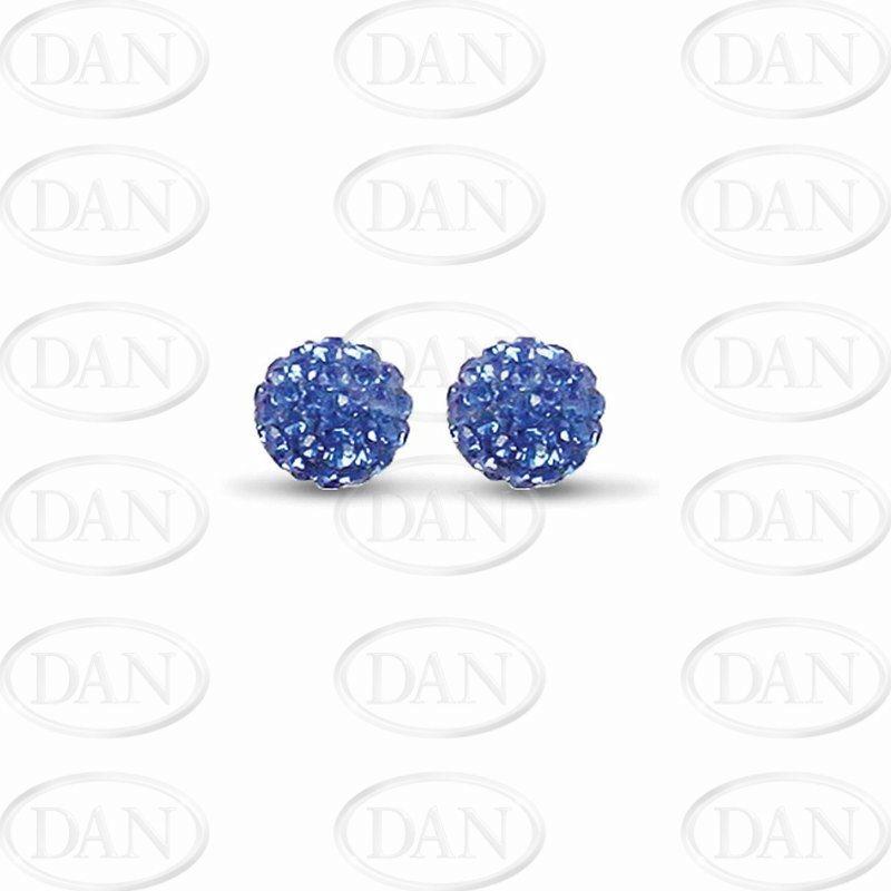 Sterling Silver 10mm Blue Crystal Stud Earrings