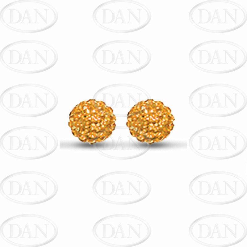 Sterling Silver 10mm Orange Crystal Stud Earrings