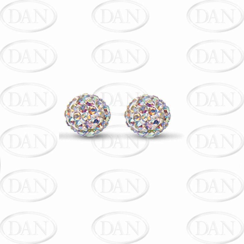 Sterling Silver 10mm Aurora Borealis Crystal Stud Earrings