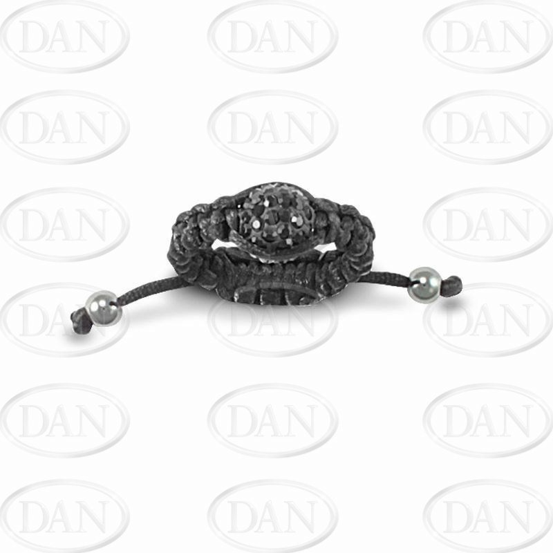 8mm Black Crystal Ball Adjustable Ring