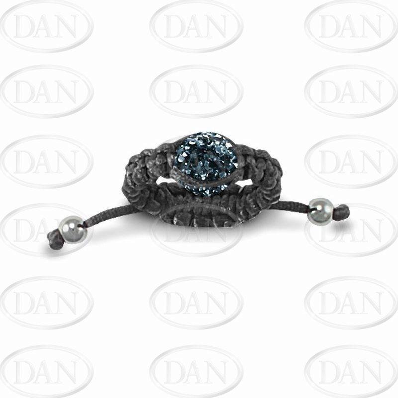 Dk Blue Crystal Adjustable Ring