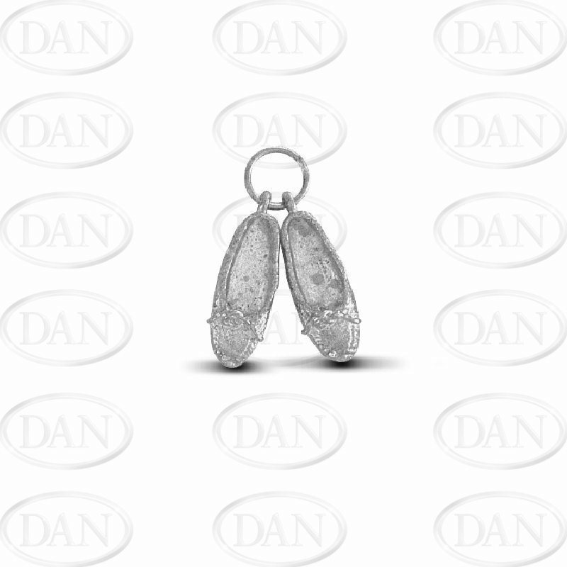 Sterling Silver Pair of Slippers Charm Pendant
